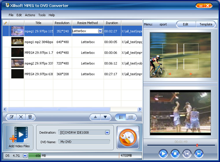 ����� Xilisoft MPEG to DVD Converter ������ ������� ����� MPEG ��� DVD