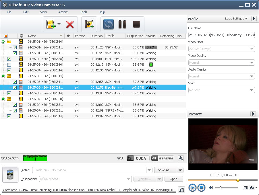 Click to view Xilisoft 3GP Video Converter 6.6.0.0623 screenshot