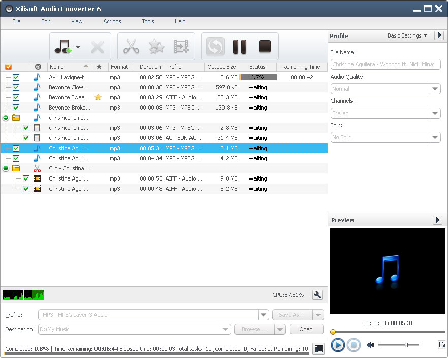 Click to view Xilisoft Audio Converter 6.3.0.0805 screenshot