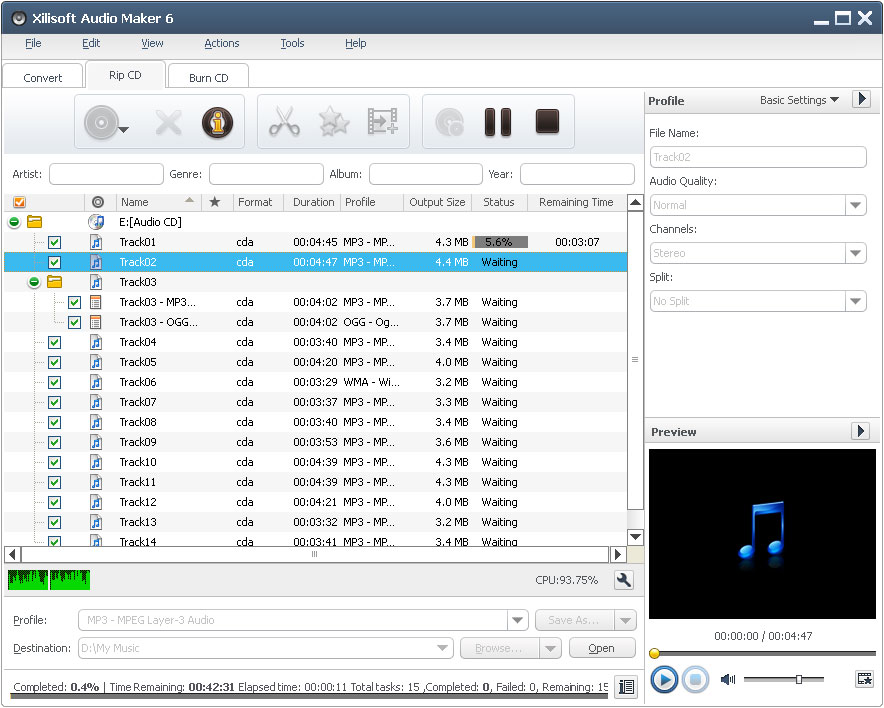 Xilisoft Audio Maker Screen shot