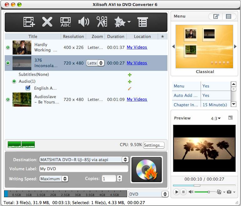 Mac AVI to DVD converter to burn AVI to DVD.