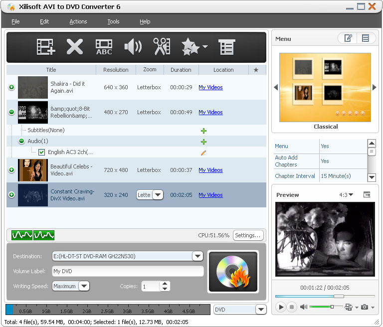 Xilisoft AVI to DVD Converter Screen shot