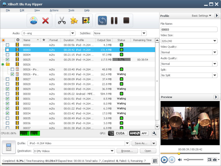 Xilisoft Blu Ray Ripper screenshot