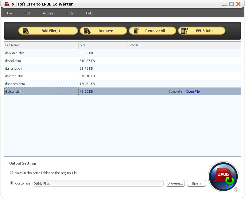 Click to View Full ScreenshotXilisoft CHM to EPUB Converter 1.0.1.1206 screenshot