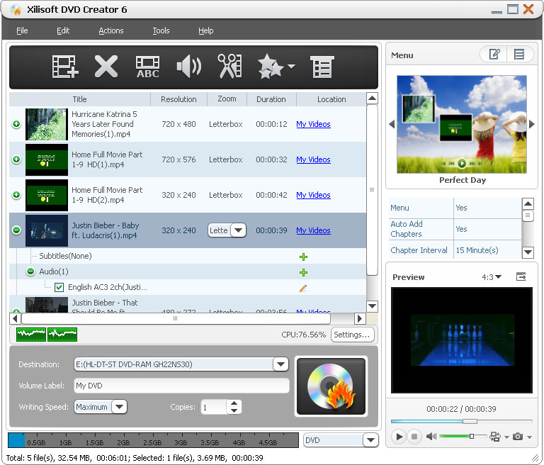 Xilisoft DVD Creator Screen shot