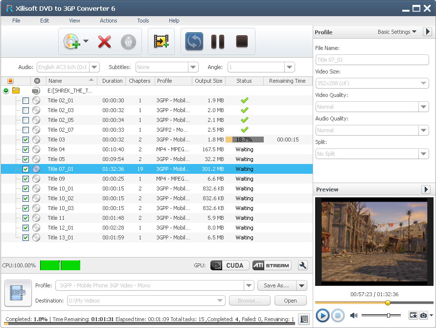 Convert DVD to 3GP, 3GPP2, MPEG1/2, WAV.