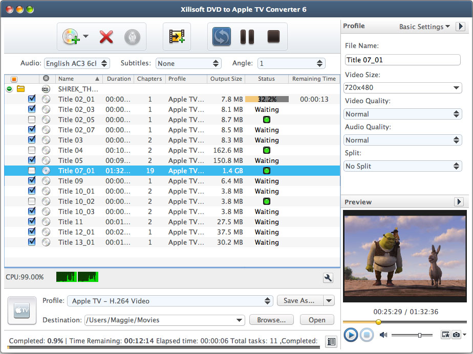 Xilisoft DVD to Apple TV Converter for Mac full screenshot