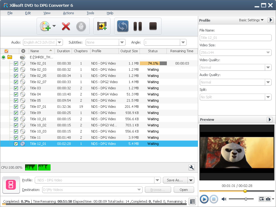 Click to view Xilisoft DVD to DPG Converter screenshots
