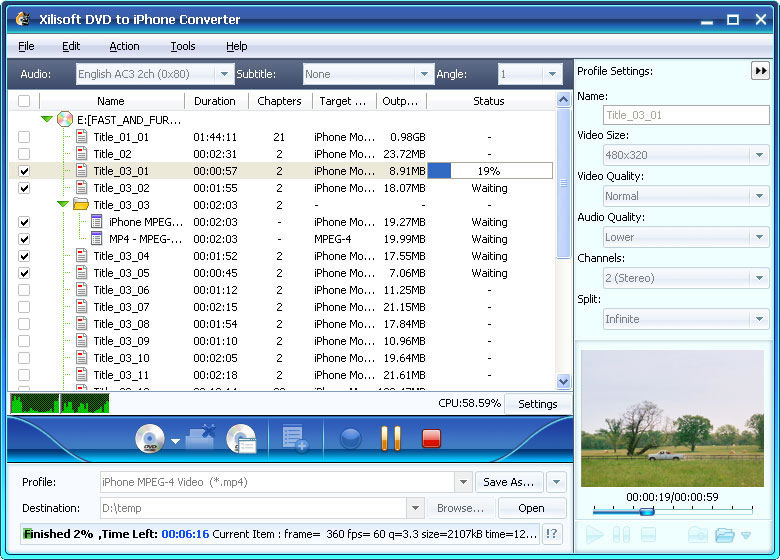 Click to view Xilisoft DVD to iPhone Suite 6.0.14.1104 screenshot