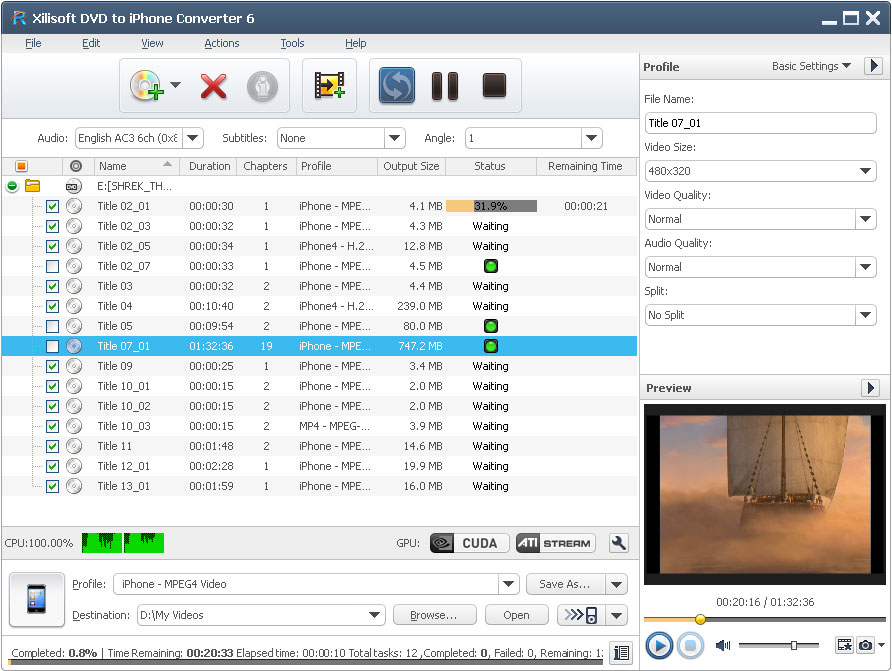 Click to view Xilisoft DVD to iPhone Converter screenshots