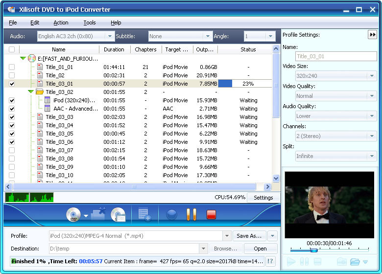 Click to view Xilisoft DVD to iPod Suite 6.0.14.1104 screenshot