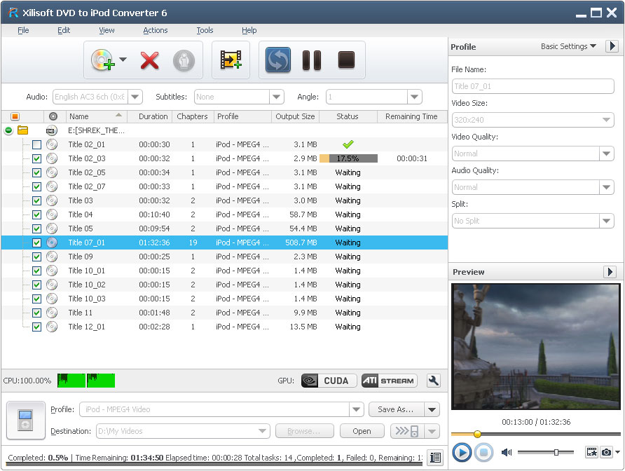 Click to view Xilisoft DVD to iPod Suite screenshots