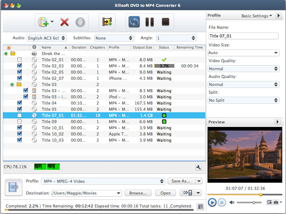 Xilisoft DVD to MP4 Converter for Mac Screenshot