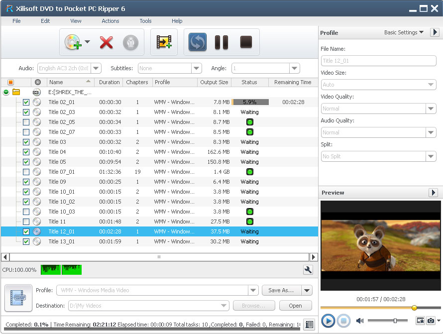 Click to view Xilisoft DVD to Pocket PC Ripper 6.0.7.0707 screenshot