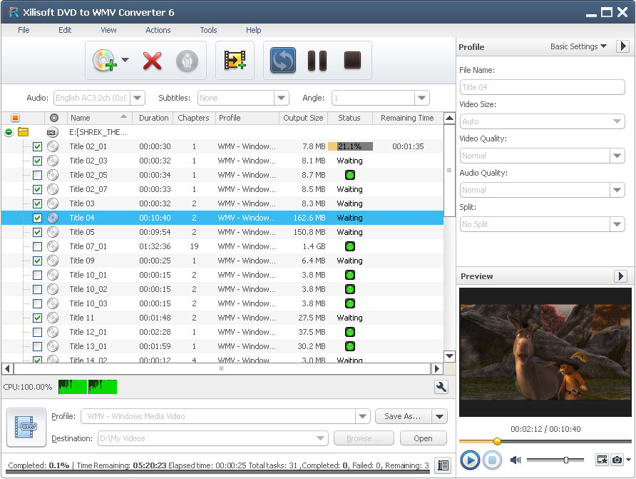Click to view Xilisoft DVD to WMV Converter 6.6.0.0623 screenshot