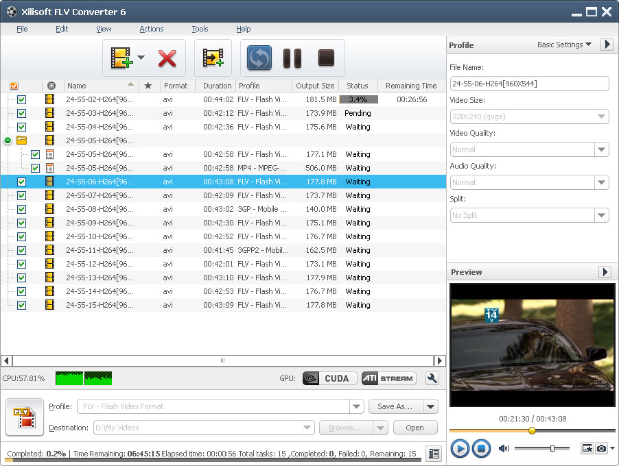 Click to view Xilisoft FLV Converter 6.6.0.0623 screenshot