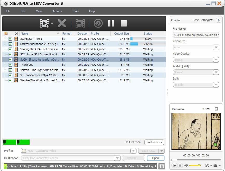 Xilisoft FLV to MOV Converter screenshot