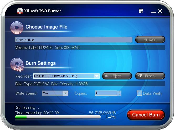 ����� Xilisoft ISO Burner ���� ����� ISO � ����� �������� ������ ��������
