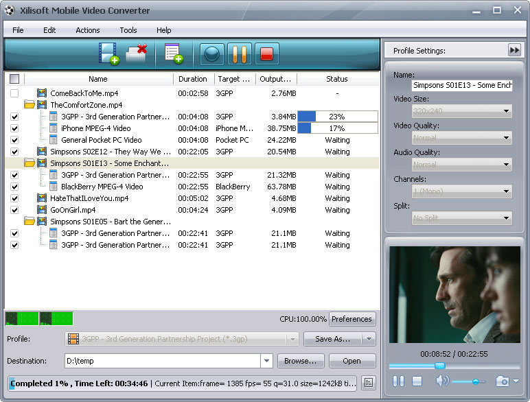 ����� Xilisoft Mobile Video Converter ������ ������� ��� ��� ����� �������