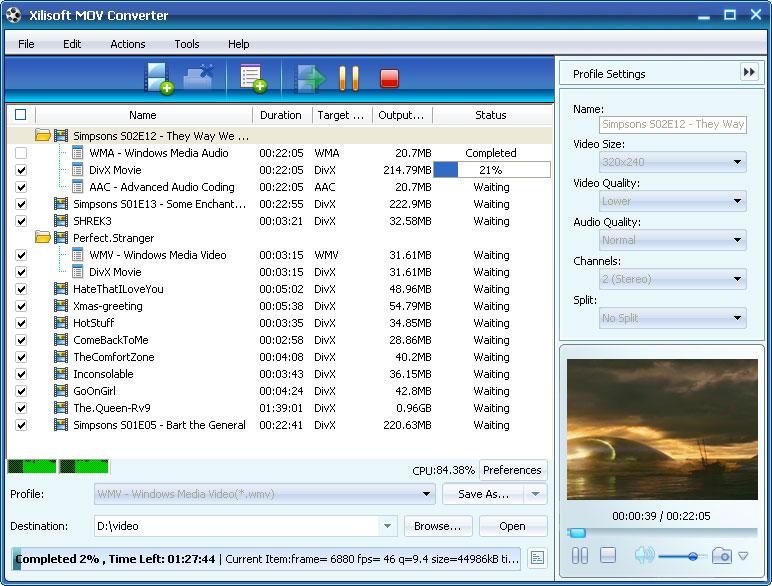 ����� Xilisoft MOV Converter v5 ������ ������� �� ���� ����� MOV