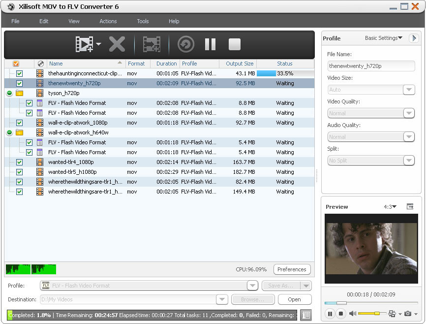 Click to view Xilisoft MOV to FLV Converter 6.0.3.0419 screenshot