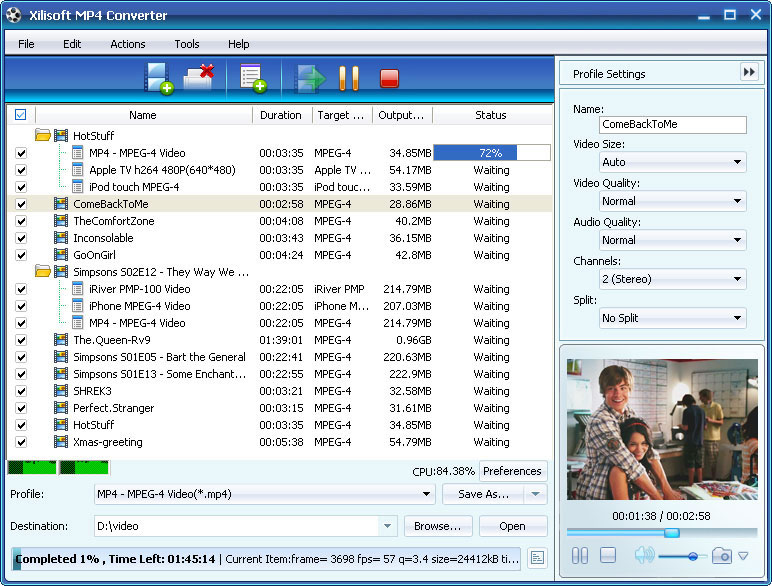 ����� Xilisoft MP4 Converter v5 ������ �� ���� ����� MP4