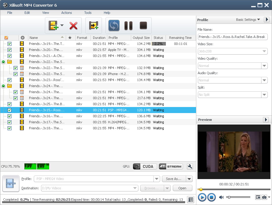 Click to view Xilisoft MP4 Converter screenshots