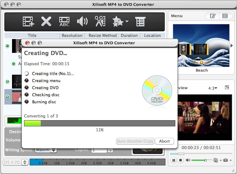 Xilisoft MP4 to DVD Converter for Mac 6.1.2.0727