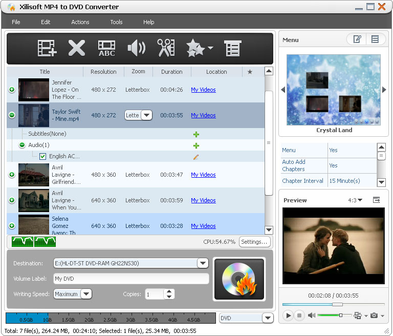 Xilisoft MP4 to DVD Converter 6.1.2.0727