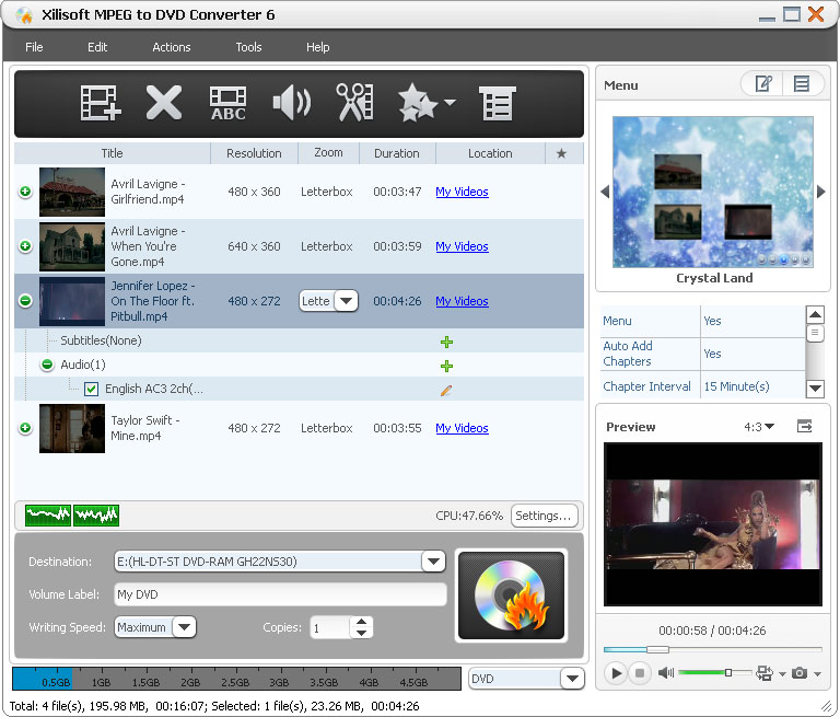 Click to view Xilisoft MPEG to DVD Converter 6.2.1.0321 screenshot