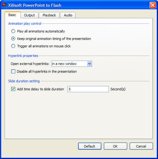 Xilisoft PowerPoint to Flash screenshot