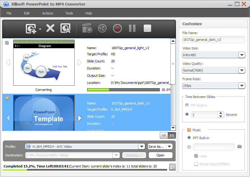 Screenshot of Xilisoft PowerPoint to MP4 Converter