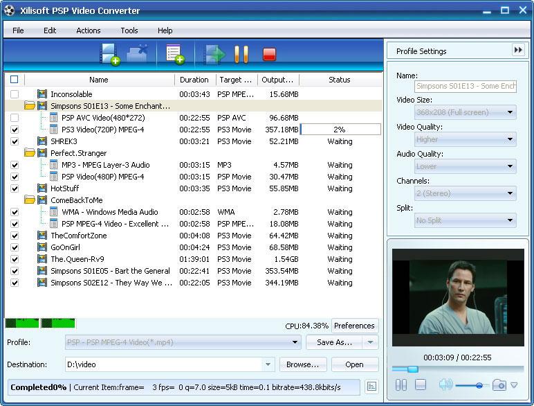 ����� Xilisoft PSP Video Converter v5 ������ ������� �� ���� ���� PSP