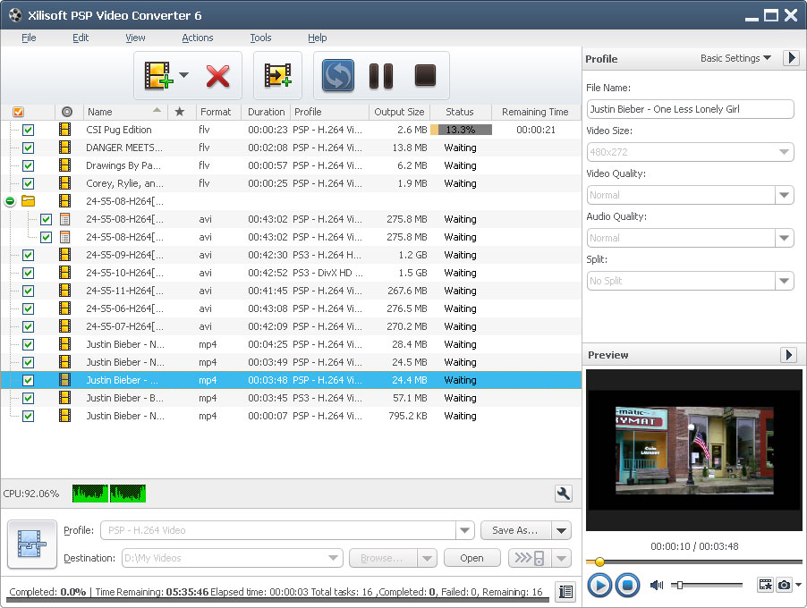 Xilisoft PSP Video Converter Screen shot
