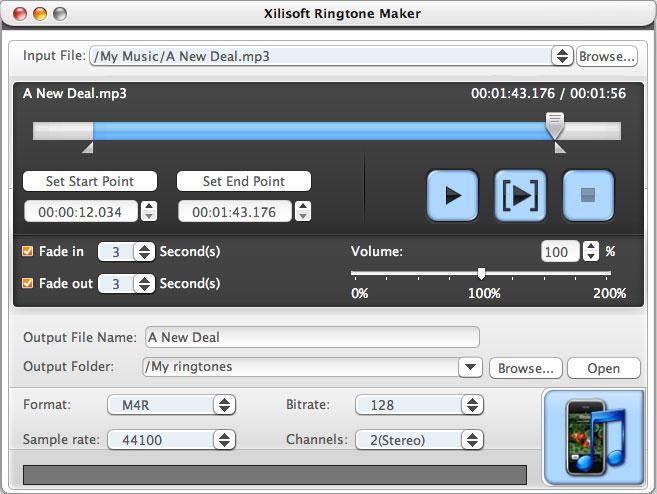 Xilisoft Ringtone Maker for Mac full screenshot