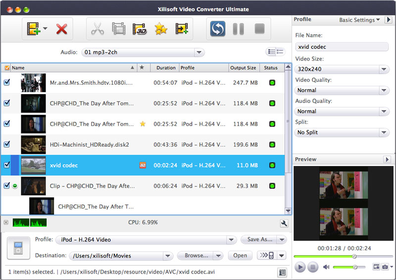Xilisoft Video Converter Ultimate for Mac Screen shot