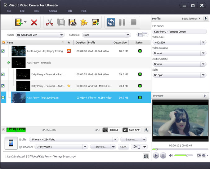 Click to view Xilisoft Video Converter Ultimate 7.2.0.20120420 screenshot