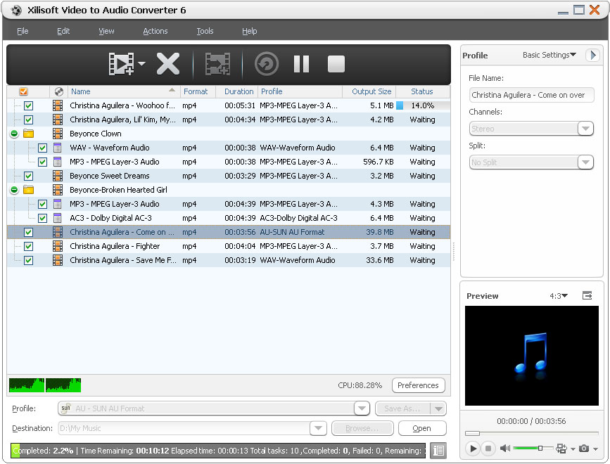 Click to view Xilisoft Video to Audio Converter screenshots