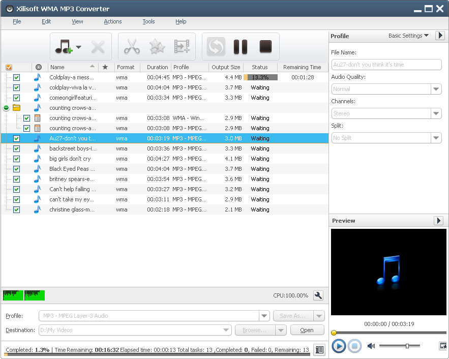 Xilisoft WMA MP3 Converter Screen shot